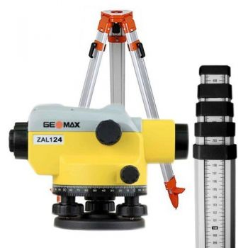 Pachet nivela optică GeoMax  ZAL 124, Zoom optic 24x + Trepied + Stadie 5m-1